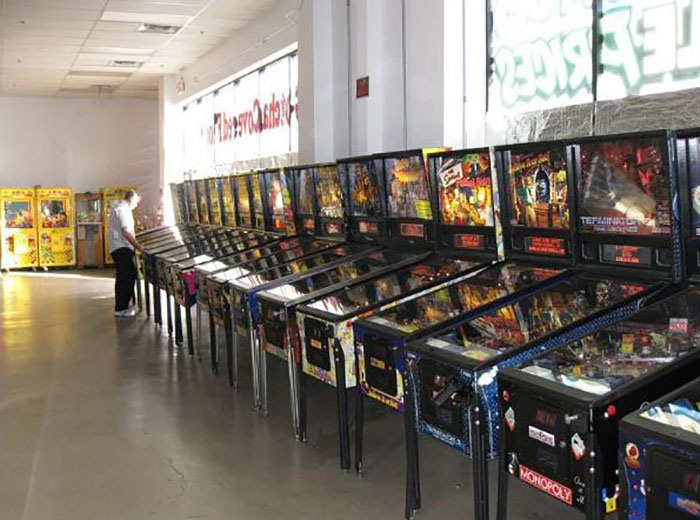 A row of pinball machines at the Pinball Museum. Located just off the Vegas Strip.