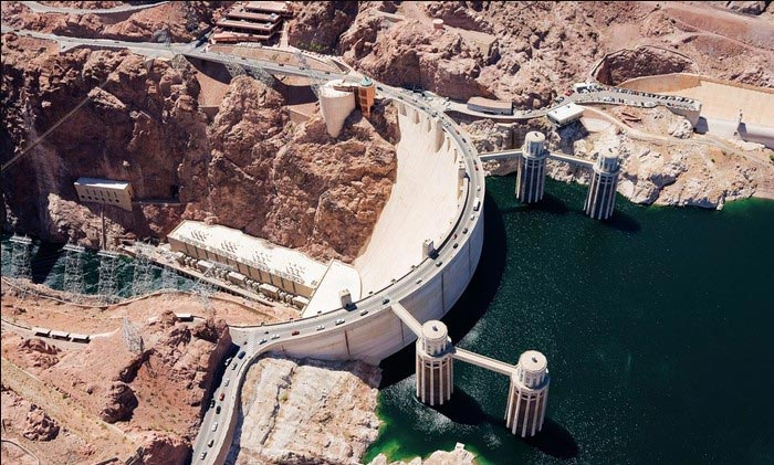 The Hoover Dam, 30 miles East of Las Vegas.