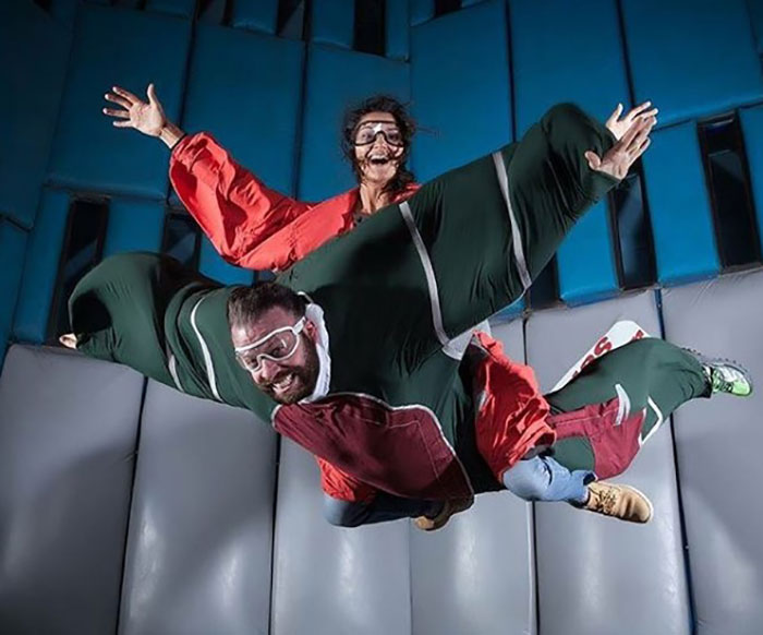 Guests test out Vegas Indoor Skydiving.