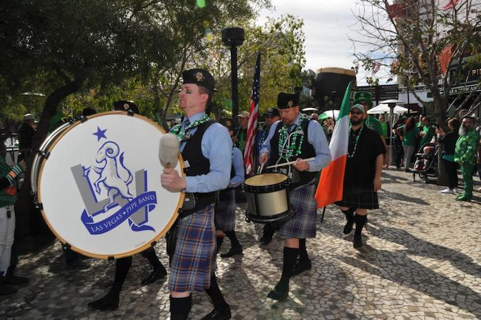 Paraders wear kilts during the Celtic Feis parade.