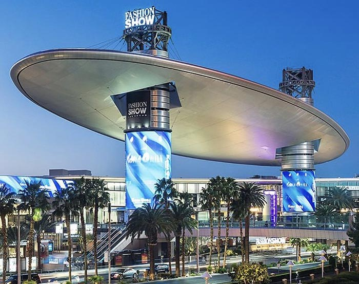 Fashion Show Mall is located between Treasure Island and Trump International Hotel.