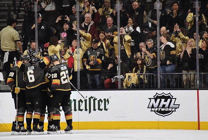 Golden Knights celebrating a goal.
