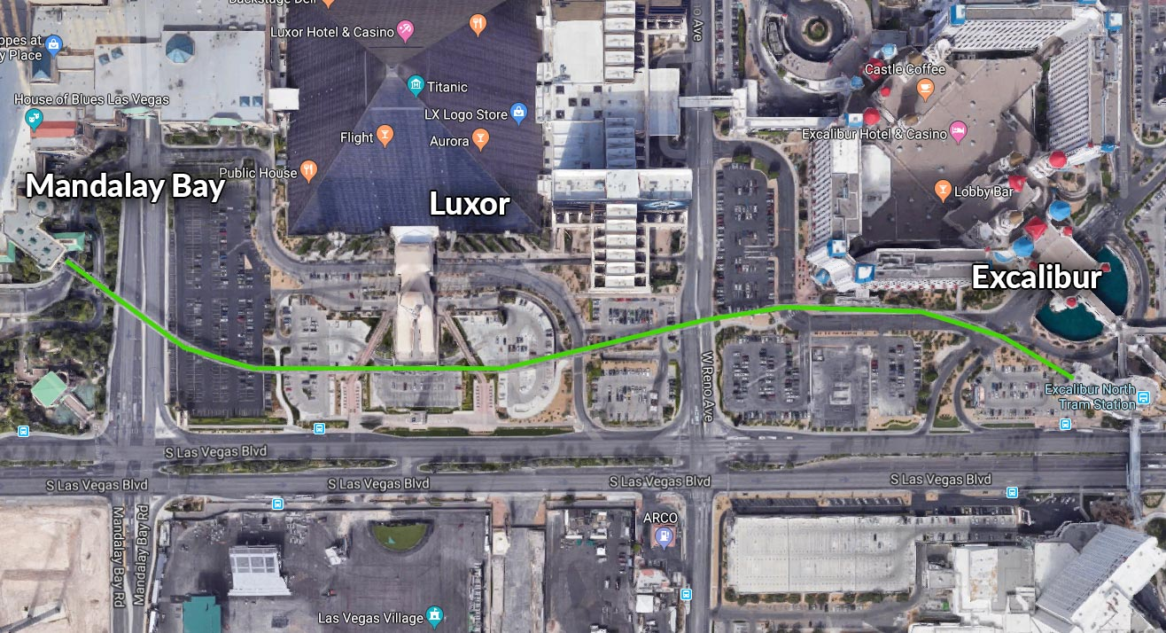 Excalibur tram to Luxor to Mandalay Bay Tram Route