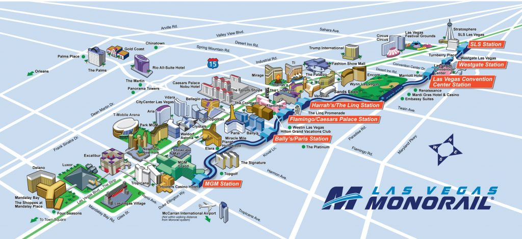 Las Vegas Monorail route,map