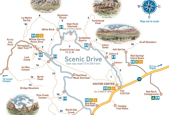 Las vegas red rock canyon visitor guide and maps