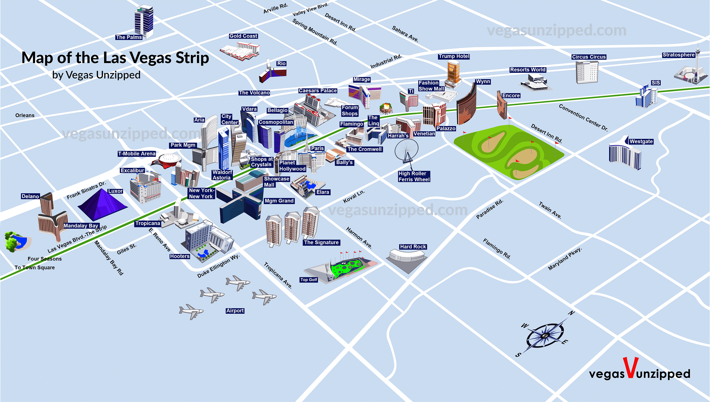 Las Vegas Strip Map - Casino Hotel Maps [2019 ] - PDF, 3D ...
