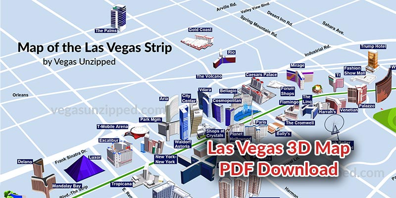 Las Vegas Strip Map - 3D by Vegas Unzipped