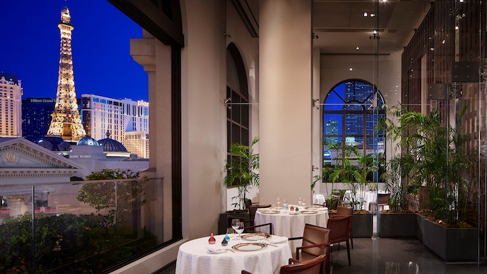 A view from Guy Savoy's restaurant on the Strip.