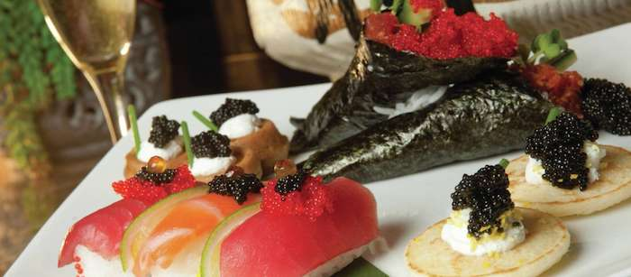 An extravagant caviar plate from the Bellagio.