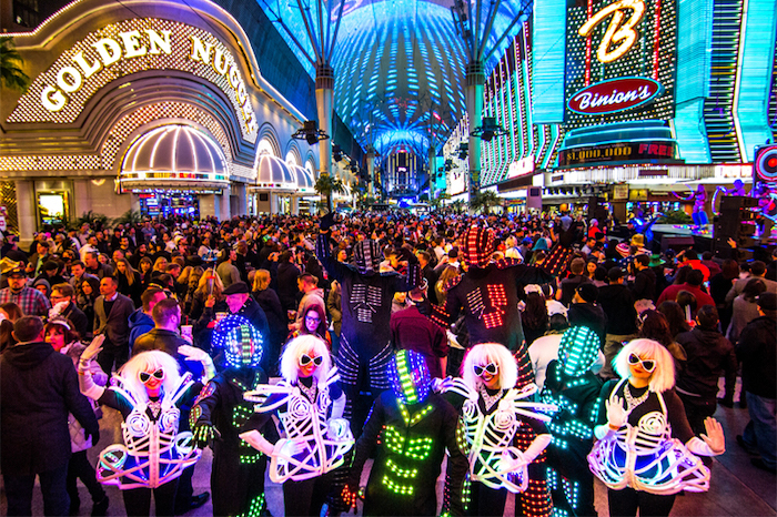 New year's eve at the Fremont Street Experience.