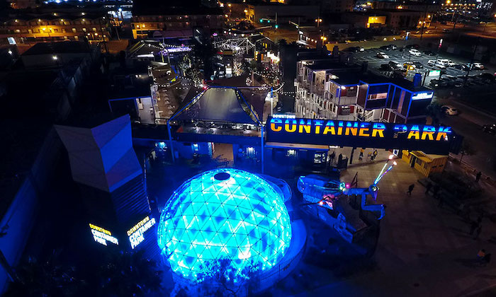 Downtown Container Park featuring the mighty Dome! Photo credit: downtowncontainerpark.com.