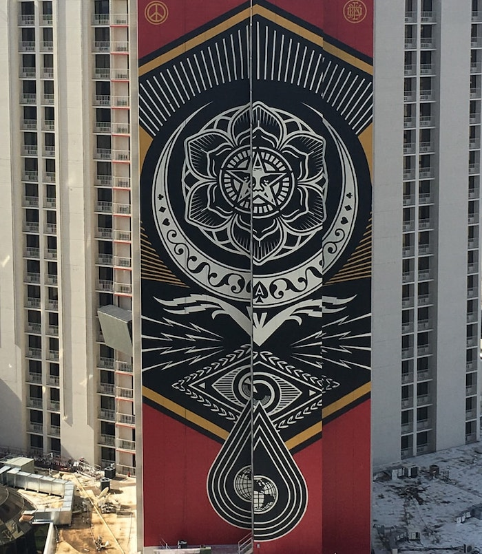 The mural on the side of the Plaza Hotel Casino is a big attraction. Photo credit: plazahotelcasino.com.