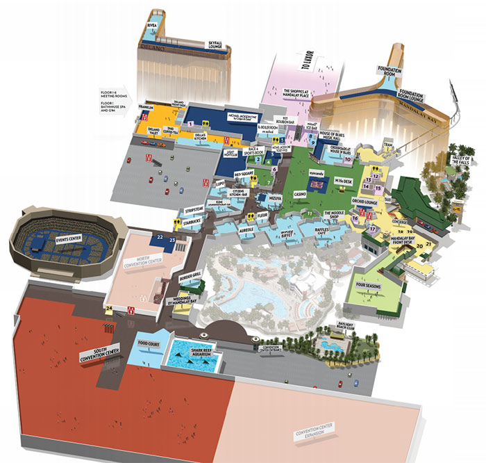 resort property maps of Delano and Mandalay Bay