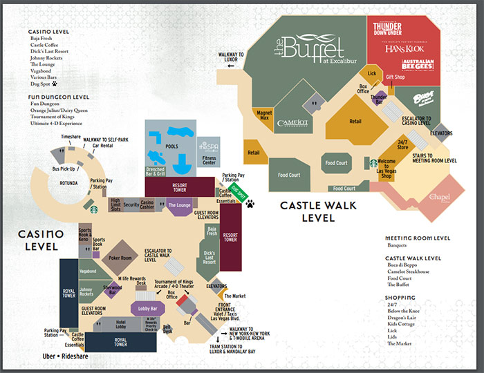 Excalibur las vegas floor plan layout 2020 map