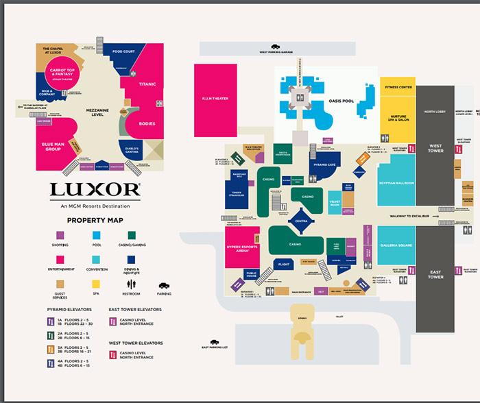 luxor las vegas hotel interior map