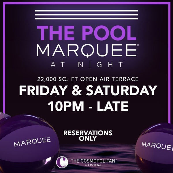 Marquee pool at night LDW 2020