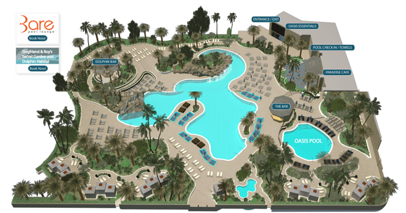 Mirage vegas pool cabanas and chairs map