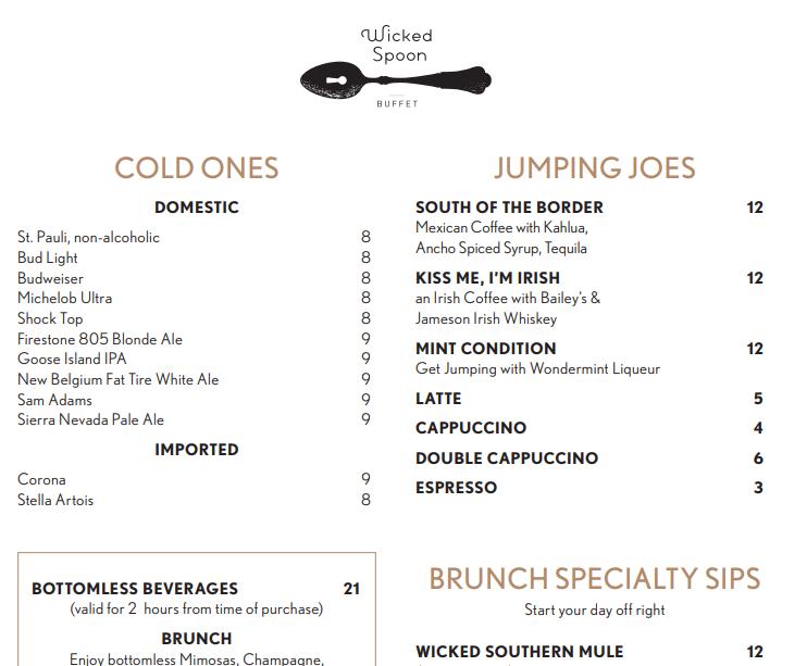 Wicked Spoon drink menu las vegas